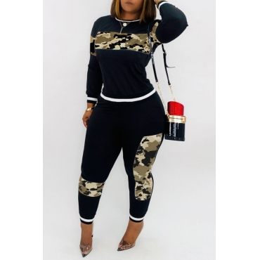 Lovely Casual Patchwork Camouflage Printed Two-piece Pants Set