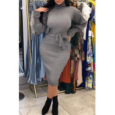 Lovely Casual Turtleneck Waist Skirt Grey Knee Length Dress