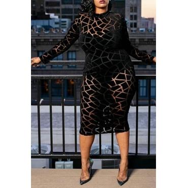 Lovely Trendy Printed Black Plus Size Knee Length Dress