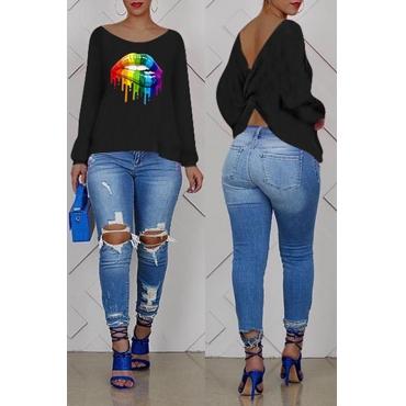 Lovely Casual Cross-over Design Printe Black Sweatshirt Hoodie