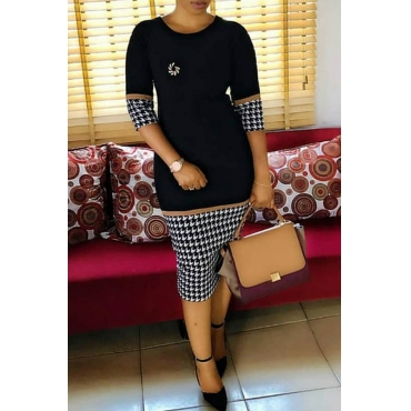 Lovely Casual Grid Printed Black Knee Length Dress