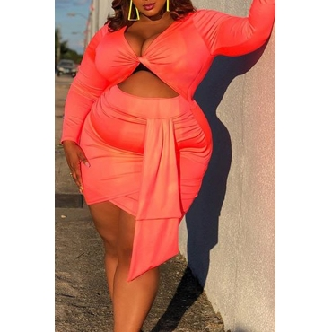 Lovely Casual Cross-over Design Orange Plus Size Two-piece Skirt Set