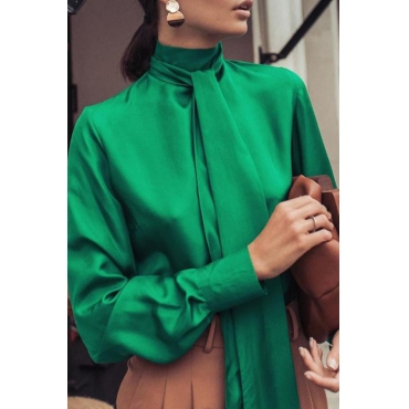 Lovely Leisure Turtleneck Green Blouse