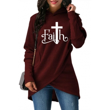 Lovely Casual Hooded Collar Letter Printed Wine Red Hoodie