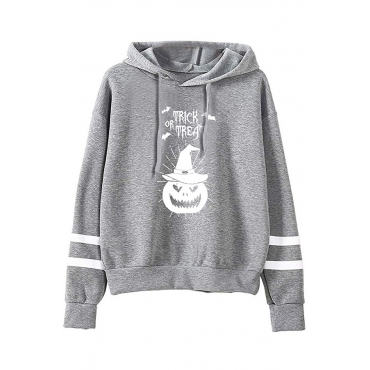 Lovely Casual Hooded Collar Printed Grey Hoodie