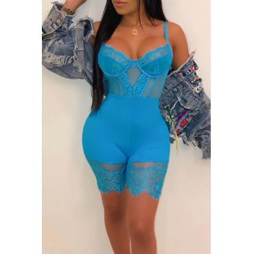 Lovely Sexy Hollow-out Baby Blue One-piece Romper