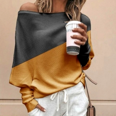 Lovely Work Color-lump Yellow Sweater