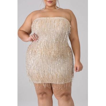 Lovely Casual Tassel Design Apricot Plus Size Mini Sheath Dress