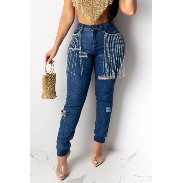 Lovely Casual Tassel Design Deep Blue Jeans