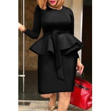 Lovely Sweet Flounce Black Knee Length Dress