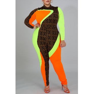 Lovely Casual Half A Turtleneck Patchwork Multicolor Plus Size One-piece Jumpsuit