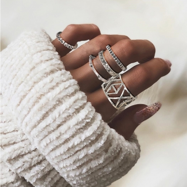 Lovely Trendy 6-piece Silver Ring