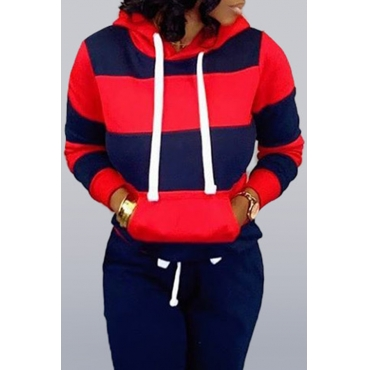 Lovely Casual Hooded Collar Striped Navy Blue Hoodie