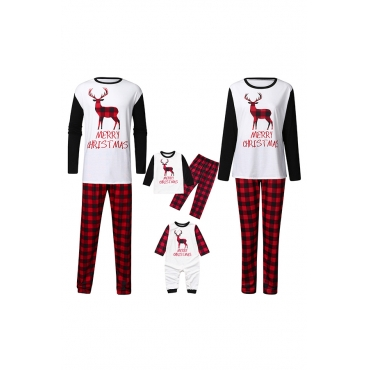 Lovely Christmas Day Printed White Two-piece Pants Set