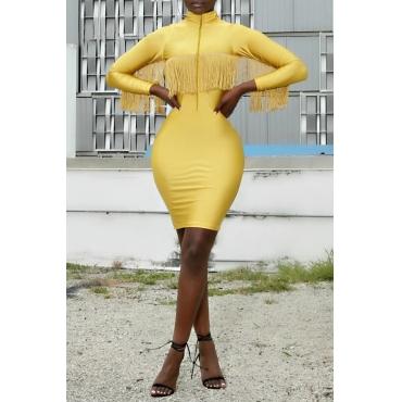 Lovely Sweet Mandarin Collar Tassel Design Yellow Mini Dress