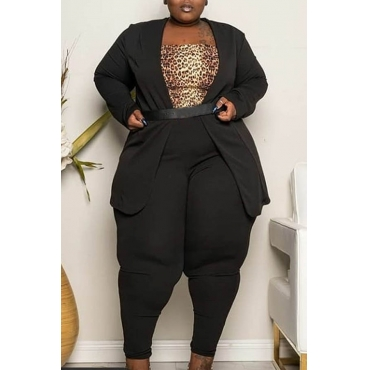 Lovely Casual Basic Black Plus Size Two-piece Pants Set