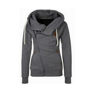 Lovely Leisure Hooded Collar Zipper Design Dark Grey Hoodie