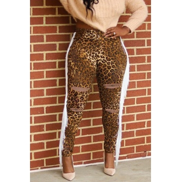 Lovely Leisure Tassel Design Leopard Printed Pants