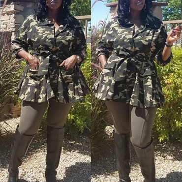 Lovely Casual Camouflage Printed Plus Size Jacket