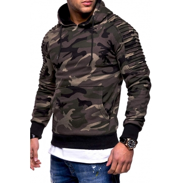 Lovely Casual Camouflage Printed Army Green Hoodie