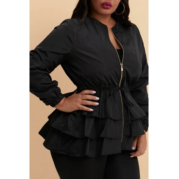 Lovely Casual Flounce Design Black Plus Size Trench Coat