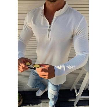 Lovely Casual Zipper Design White T-shirt