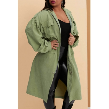 Lovely Casual Basic Green Plus Size Trench Coat