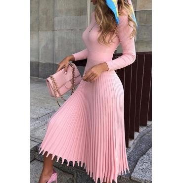 Lovely Work Asymmetrical Pink Mid Calf Dress