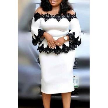 Lovely Trendy Flounce Design White Plus Size Two-piece Skirt Set