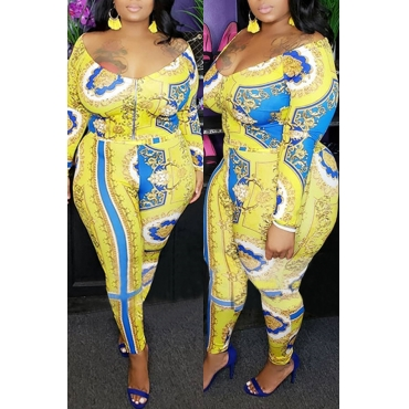 Lovely Casual Printed Yellow Plus Size Two-piece Pants Set