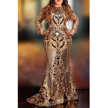 Lovely Party Gold Trailing Evening Dress