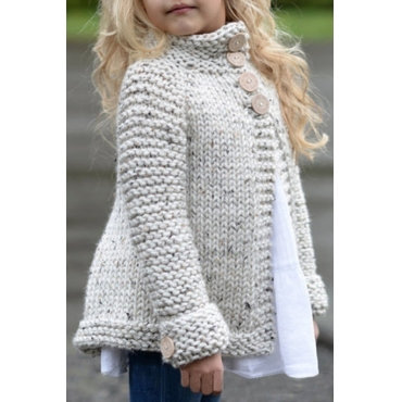 Lovely Sweet Buttons Design Beige Girls Cardigan