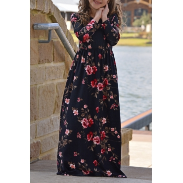 Lovely Bohemian Printed Black Ankle Length Dress