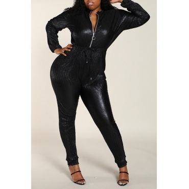 Lovely Work Zipper Design Black Plus Size One-piece Jumpsuit