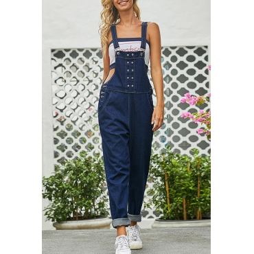 Lovely Trendy Backless Deep Blue One-piece Jumpsuit