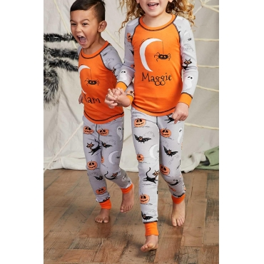 Lovely Halloween Printed Orange Girls Two-piece Pants Set