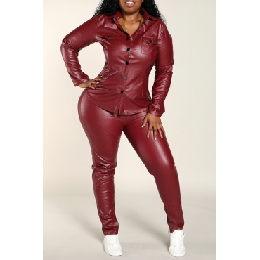 Lovely Work Skinny Wine Red Plus Size Two-piece Pants Set