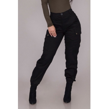 Lovely Casual Basic Black Cargo Pants