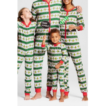 Lovely Family Printed Green One-piece Jumpsuit