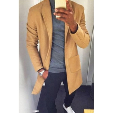 Lovely Trendy Turndown Collar Yellow Coat