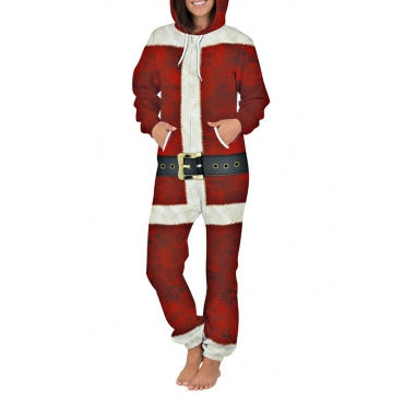 Lovely Cosplay Christmas Day Printed Red One-piece Jumpsuit