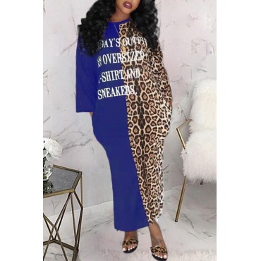 Lovely Casual Leopard Printed Blue Mid Calf Dress