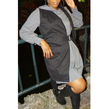 Lovely Casual Hooded Collar Patchwork Black Mini Dress