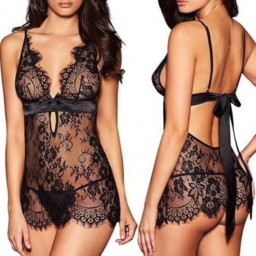 Lovely Sexy Lace-up Black Babydolls
