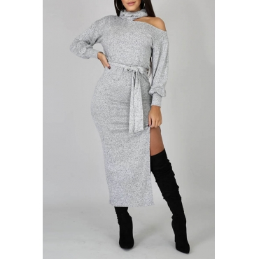 Lovely Casual Side Slit Grey Mid Calf Dress