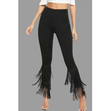 Lovely Casual Tassel Design Pitch-black Plus Size Pants
