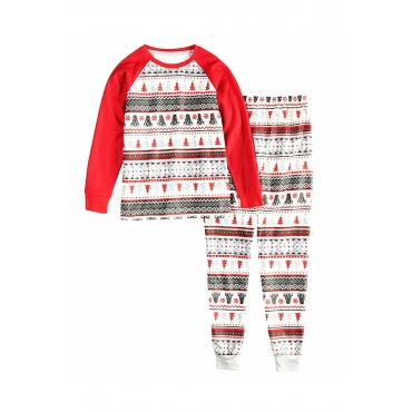 Lovely Family Santa Claus Printed White Kids Two-piece Pants Set