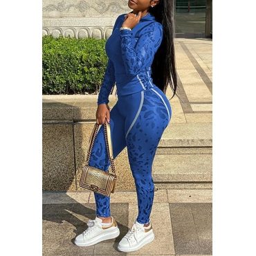 Lovely Sportswear Patchwork Blue Two-piece Pants Set