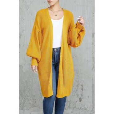 Lovely Trendy Loose Yellow Cardigan