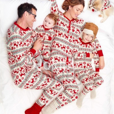 Lovely Family Printed White Father Two-piece Pants Set